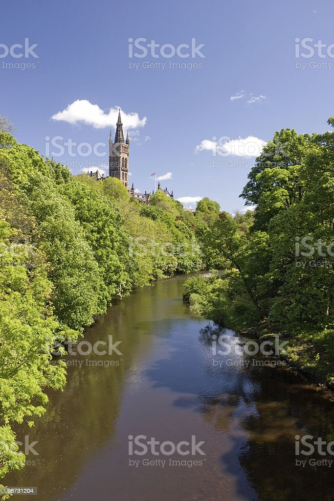 River Kelvin and Bell Tower royalty-free stock photo