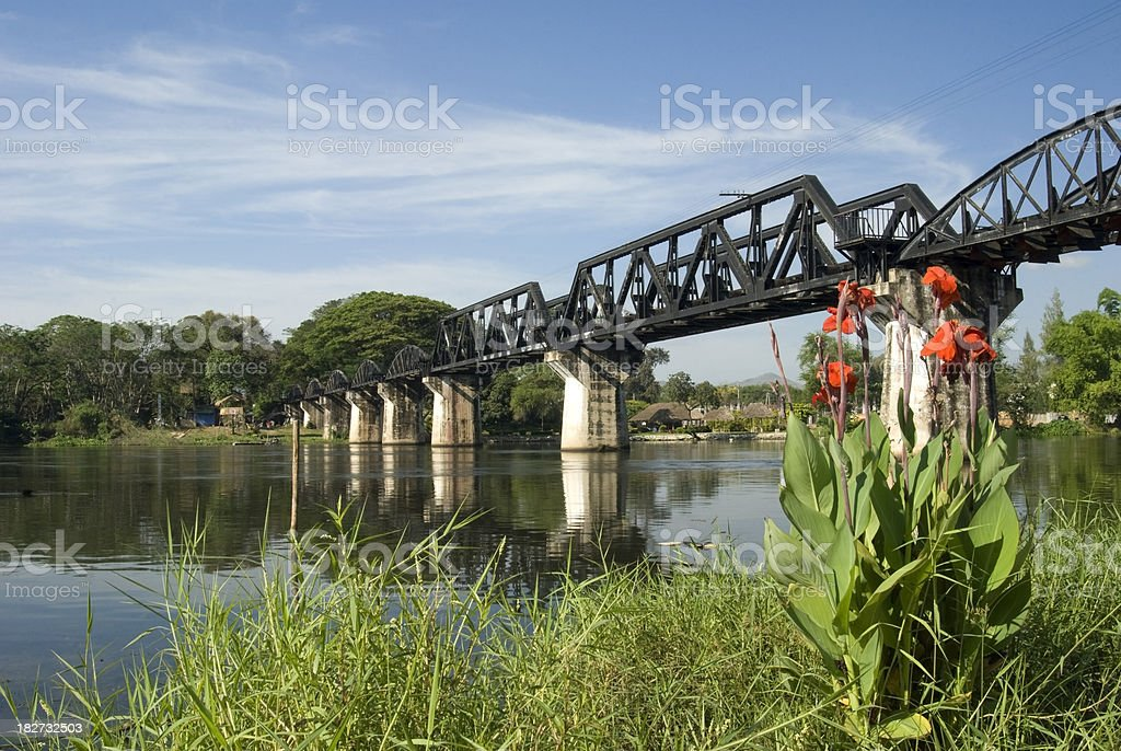 River Kwai bridge in Thailand royalty-free stock photo