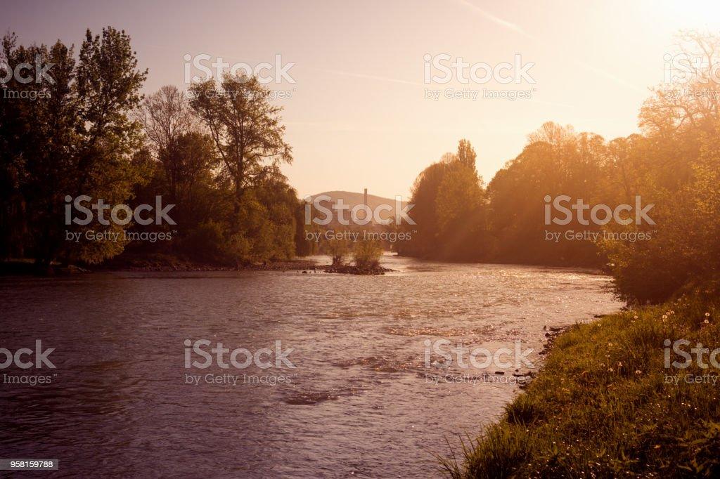 river landscape at sunrise stock photo