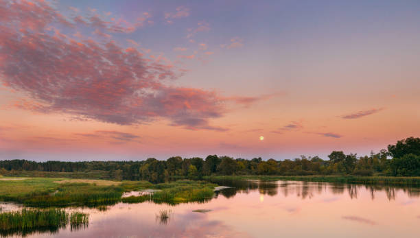 River Landscape In Belarus Or European Part Of Russia In Sunset Time Of Summer Evening. Moon Rising Over Water Lake Or River. Nature At Sunny Evening. stock photo