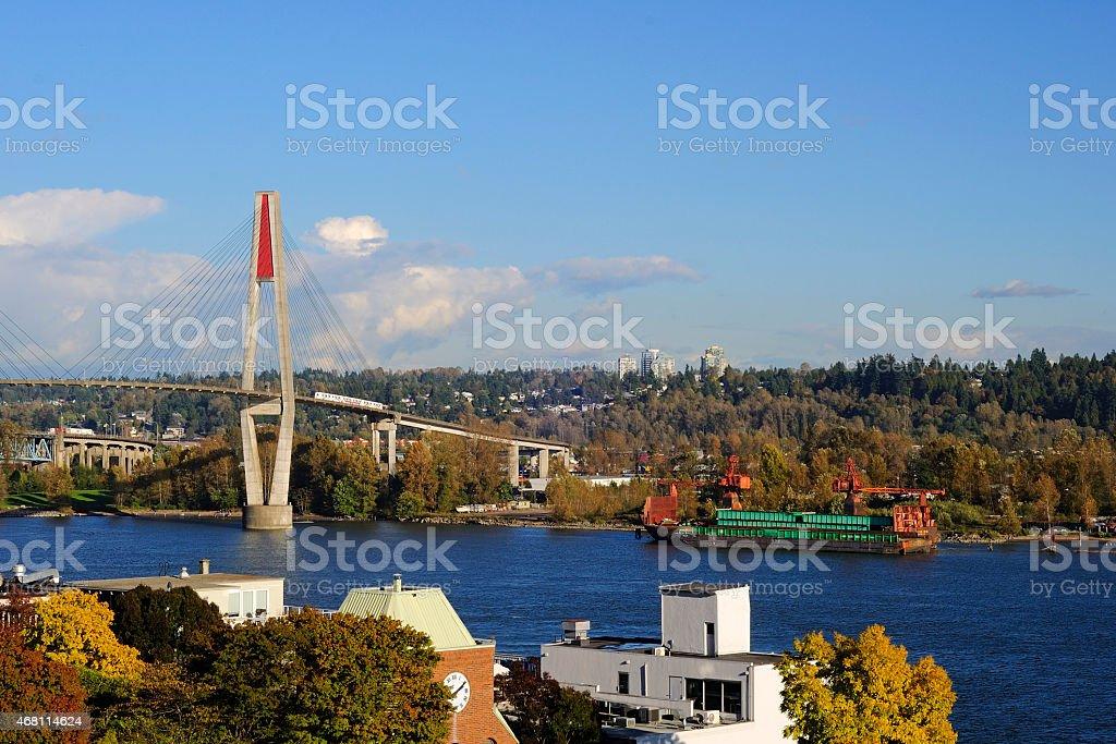 river landscape in the autumn stock photo
