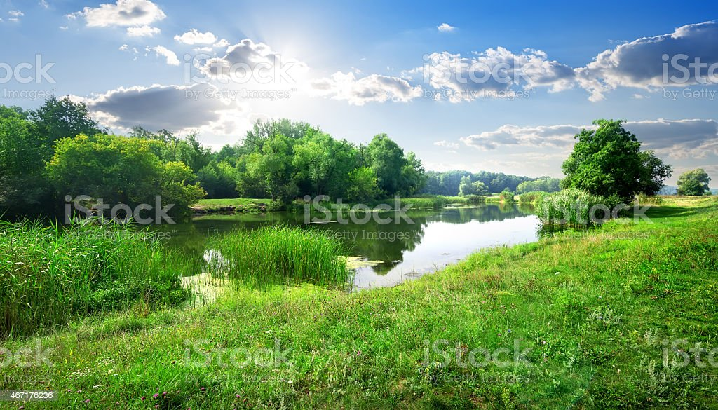 River landscape stock photo