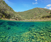 River landscape split view over under with a rocky riverbed underwater, Dumbea, Grande-Terre, New Caledonia, Oceania