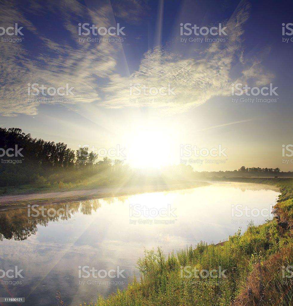 river landscape with sunrise stock photo