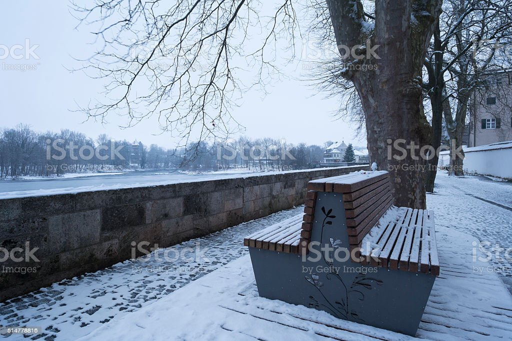 River Lech in Landsberg at the Winter Season stock photo