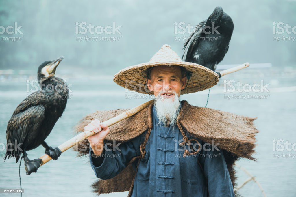 River Lee Chinese Cormorant Fisherman Real People Portrait Li River China stock photo