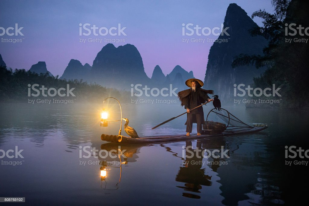 River Lee Cormorant Fisherman royalty-free stock photo