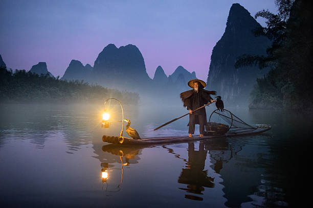 River Lee Cormorant Fisherman stock photo
