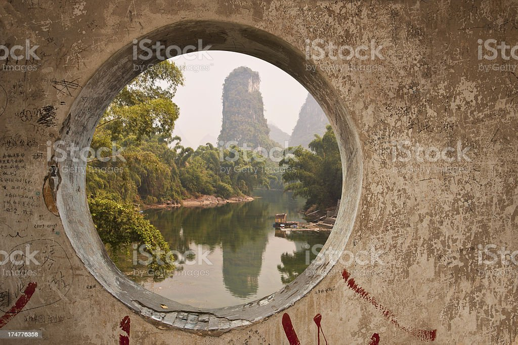 River Lee through a hole in Yangshuo stock photo