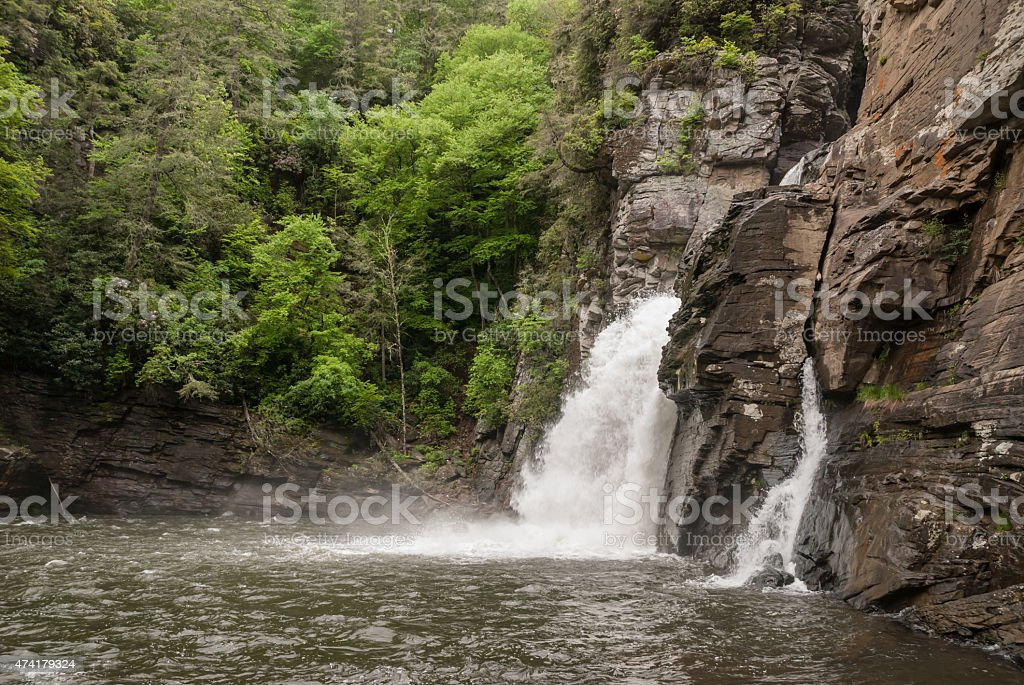 River Level View of Linville Falls stock photo