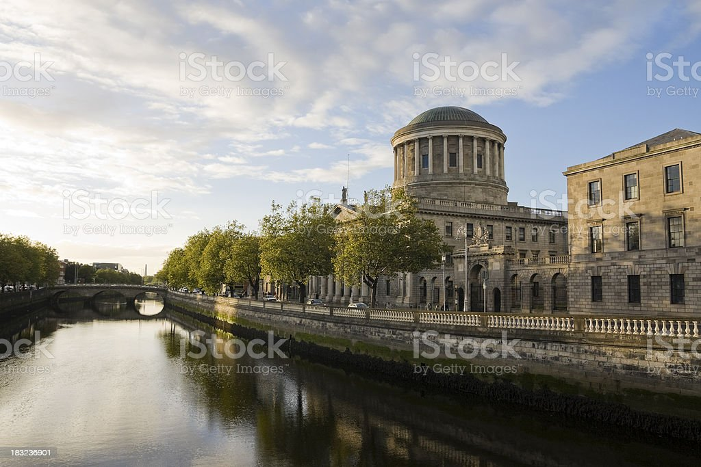 River Liffey and the Four Courts in Dublin stock photo