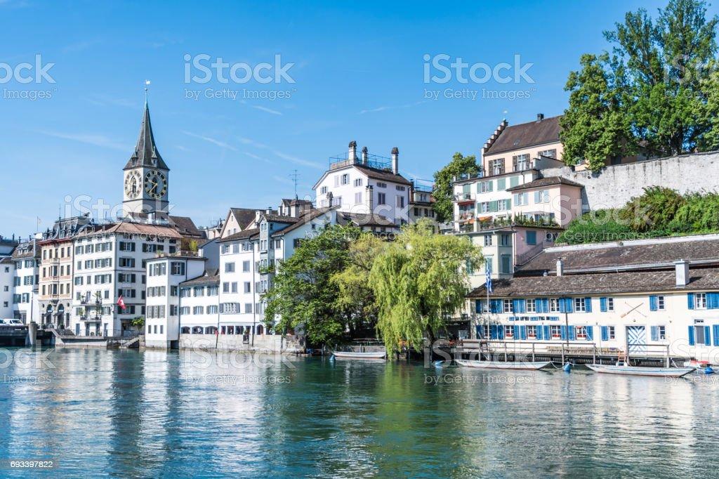 River Limmat through Zurich stock photo