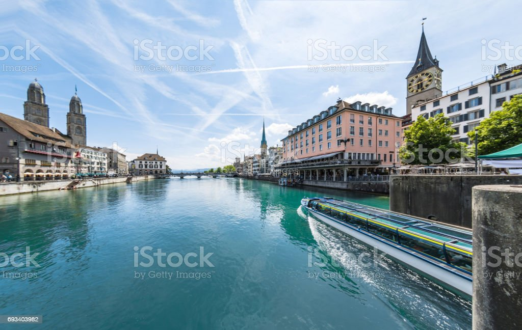 River Limmat View of Old Town Zurich stock photo