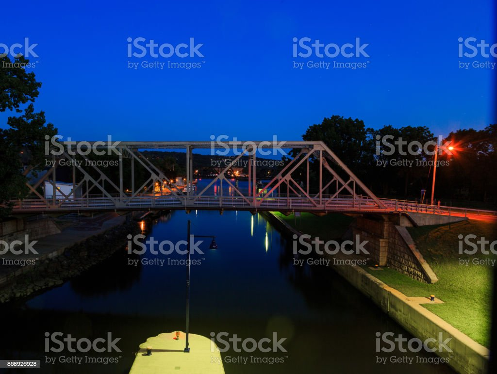 Waterford NY USA - August 2016.  River Lock number 2 at night. stock photo