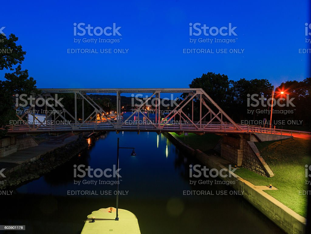 Waterford NY USA - August 2016.  River Lock number stock photo