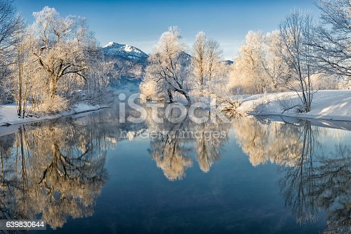 istock River Loisach entering Lake Kochel in Winter 639830644
