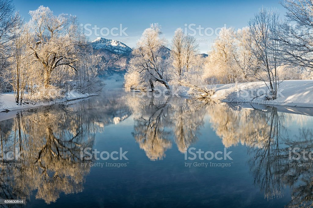 River Loisach entering Lake Kochel in Winter stock photo