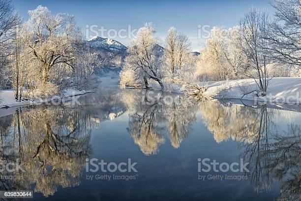 Photo of River Loisach entering Lake Kochel in Winter