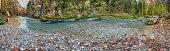 river Loisach in wild canyon nearby city Garmisch in Bavaria