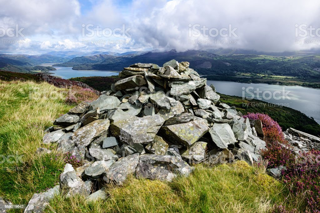 River Mawddach and Mountain Cairn, Wales stock photo
