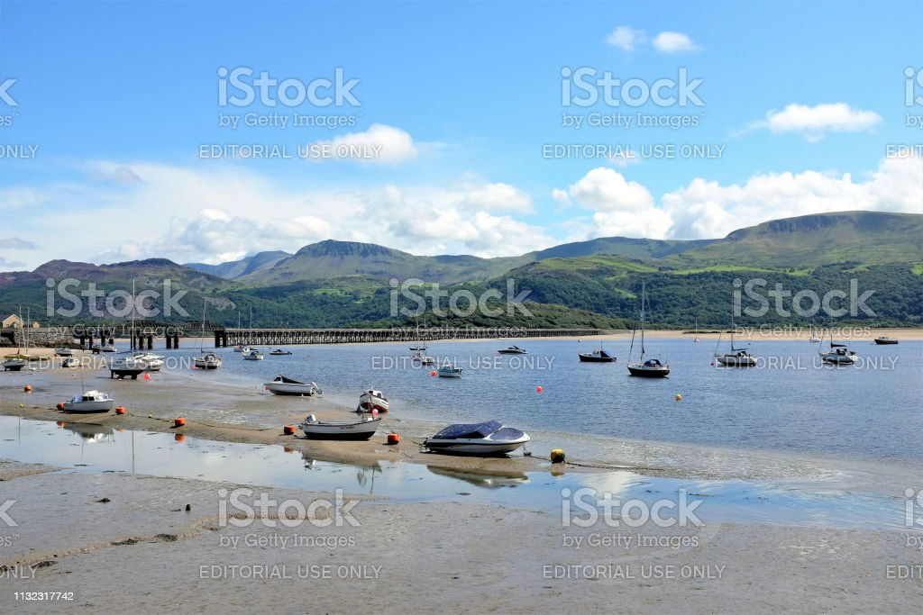 River Mawddach, Barmouth, Wales, UK. stock photo