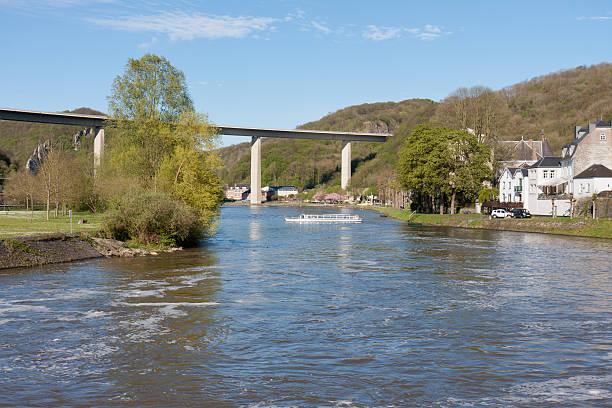river meuse near dinant in belgium - maasvallei stockfoto's en -beelden