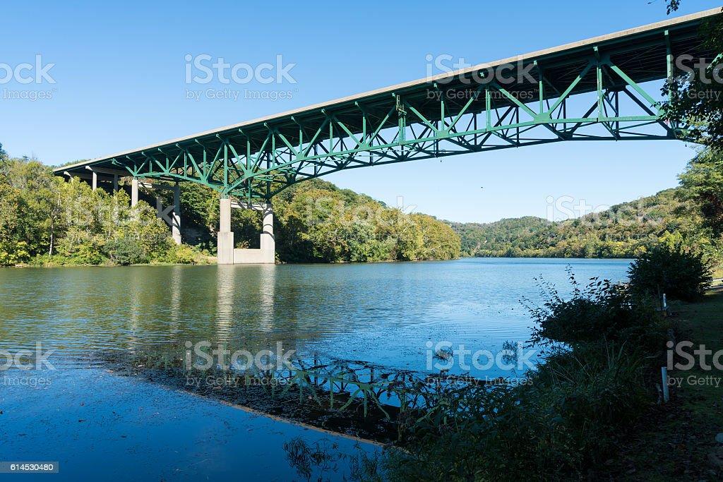 River Monongahela underneath I79 bridge stock photo