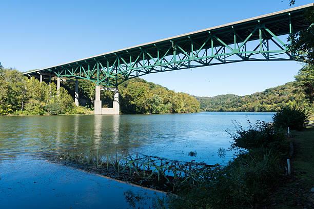 River Monongahela underneath I79 bridge Interstate I79 bridge over Monongahela river near Morgantown in West Virginia USA monongahela river stock pictures, royalty-free photos & images