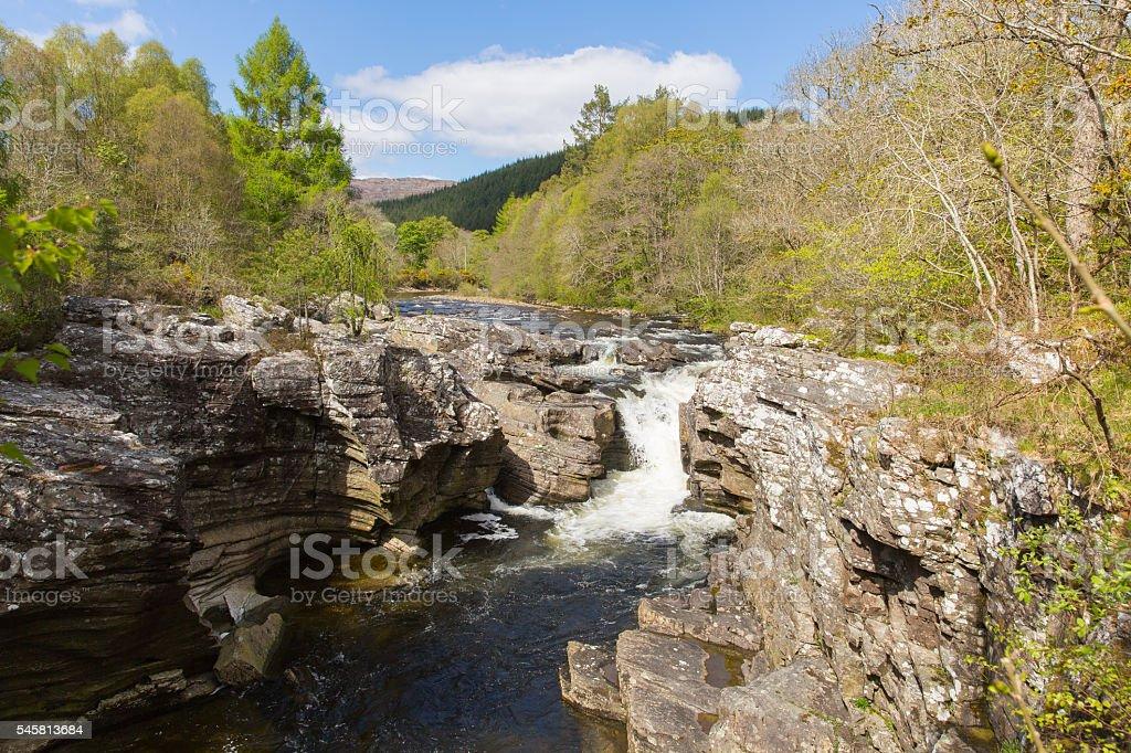 River Moriston falls by Invermoriston bridge Scotland UK Scottish tourist stock photo