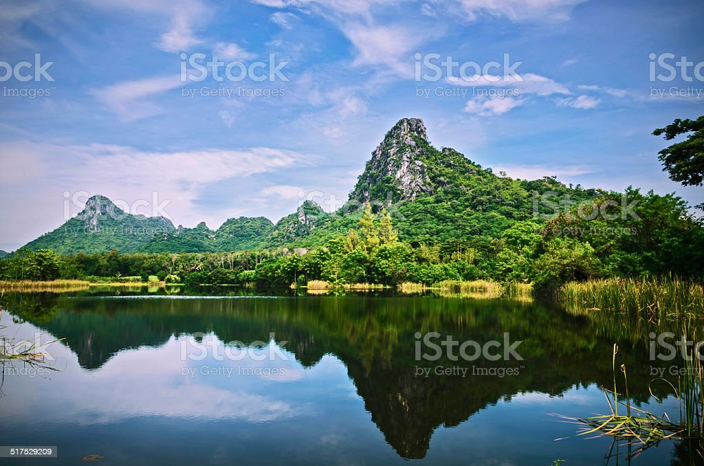 river mountain and blue sky stock photo