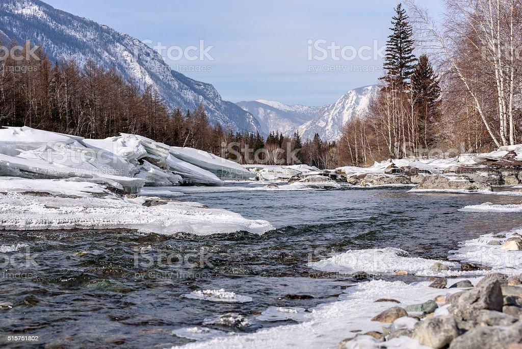 river mountain ice snow stones stock photo