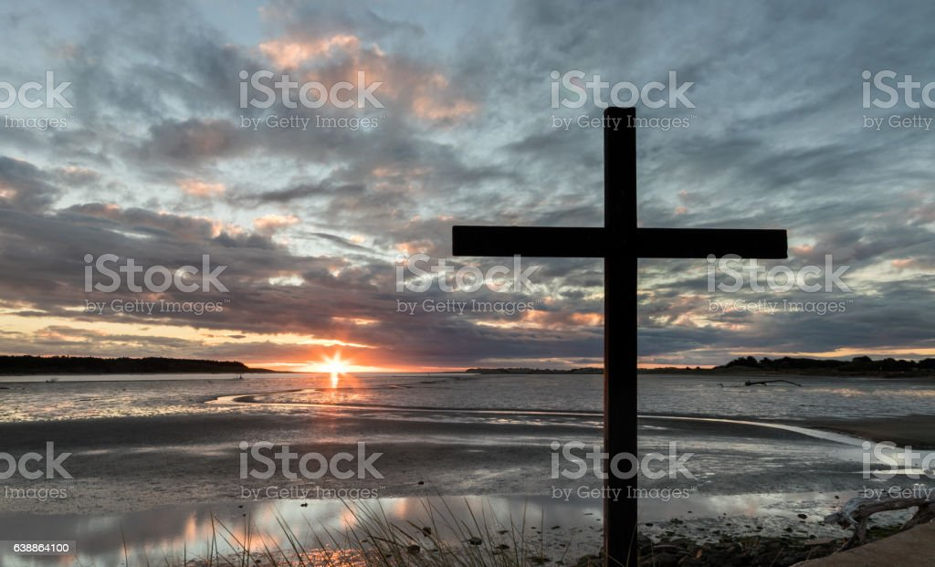 River Mouth Cross Sunset stock photo
