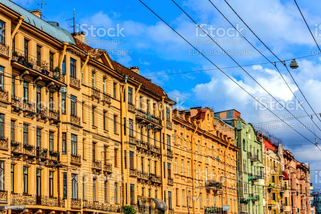 River Moyka Embankment's buildings in the summer in St. Petersburg, Russia. stock photo