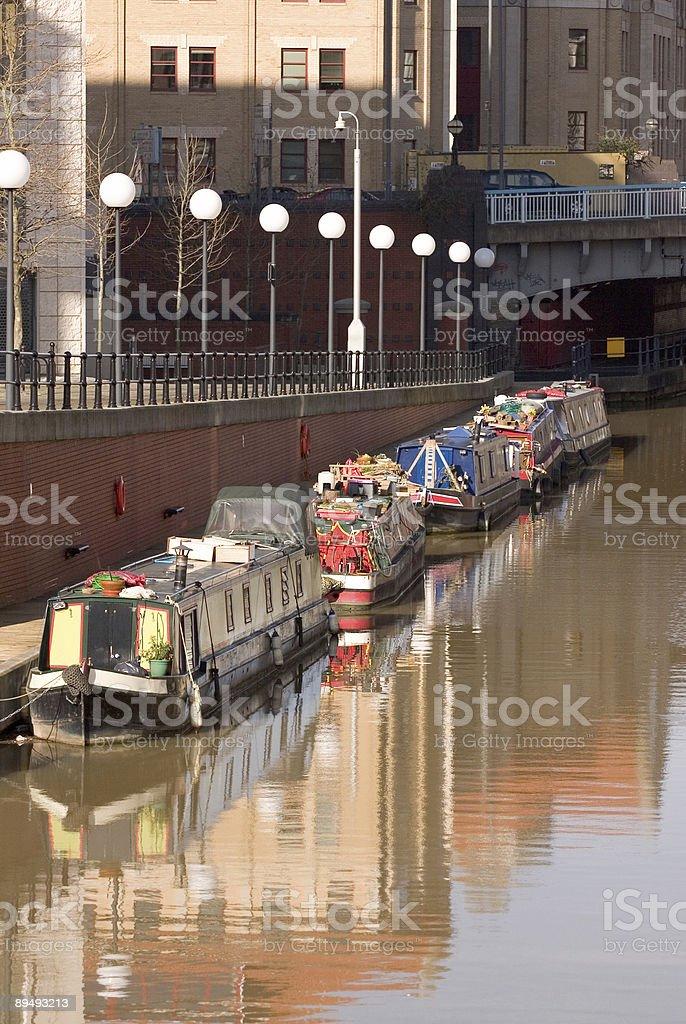 River narrow boats stock photo
