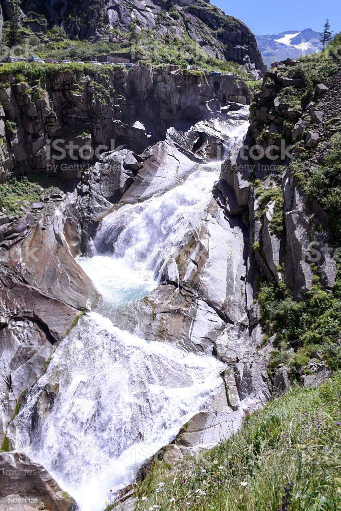 River near Devil's bridge at St. Gotthard pass stock photo