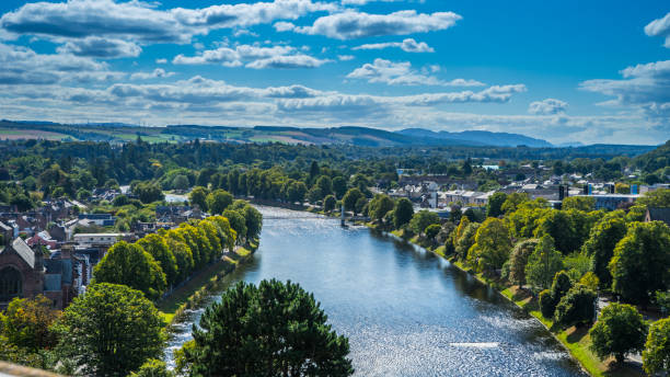 River Ness on a sunny day View of river Ness on a sunny day north coast 500 stock pictures, royalty-free photos & images