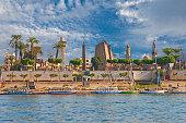 River Nile Luxor Egypt. View of Luxor's business card - Karnak Temple.