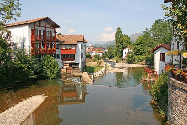 River Nive in Saint Jean Pied de Port, France. stock photo