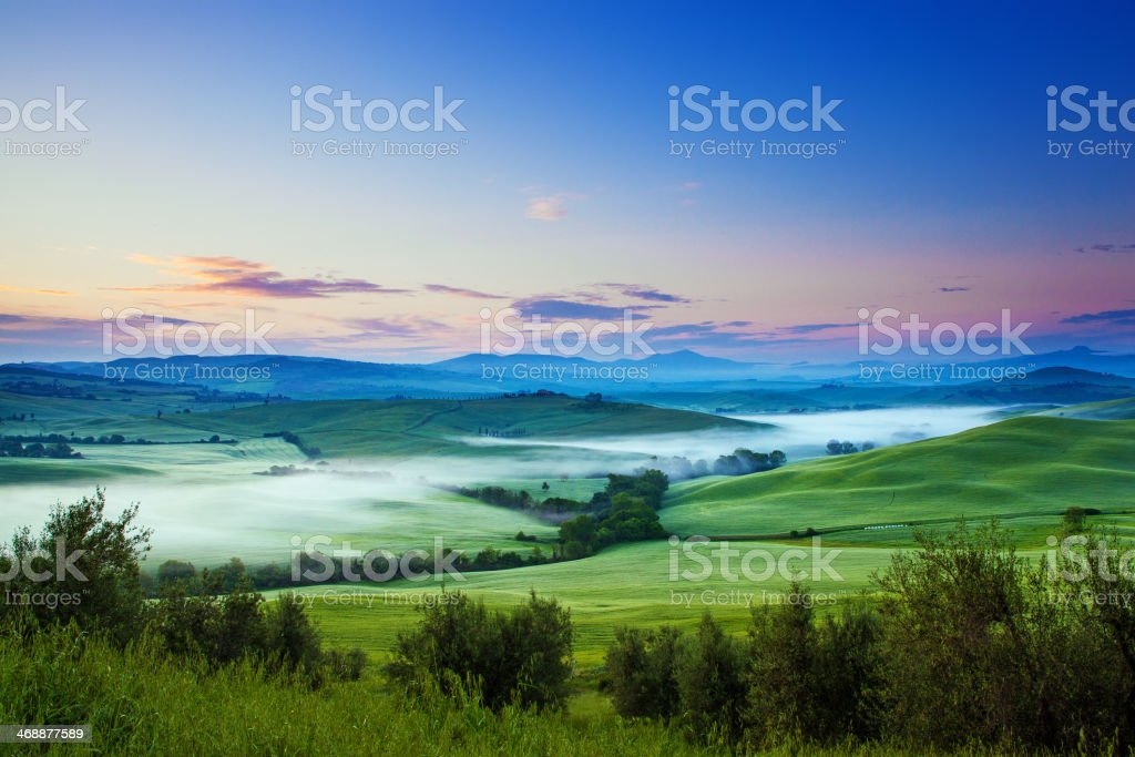 River of fog stock photo