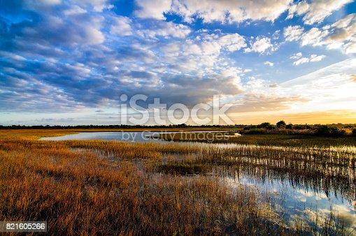 The sun sets over the FLorida Everglades