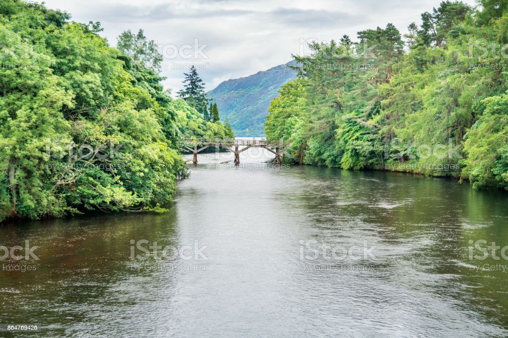 River Oich and Loch Ness at Fort Augustus Scotland stock photo