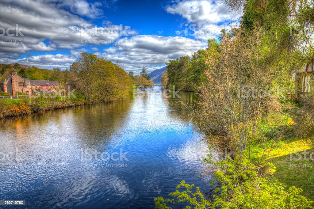 River Oich Fort Augustus Scotland UK Scottish Highlands colourful HDR stock photo