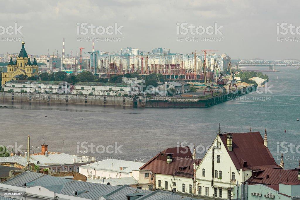 River Oka falls into Volga royalty-free stock photo