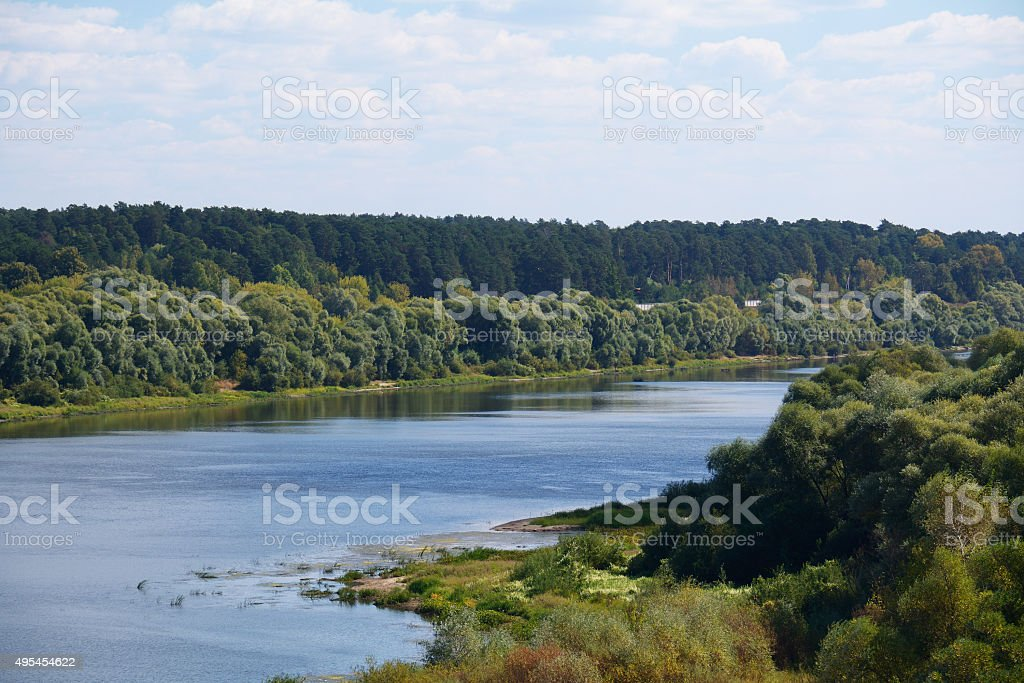 river Oka with the trees on the banks stock photo