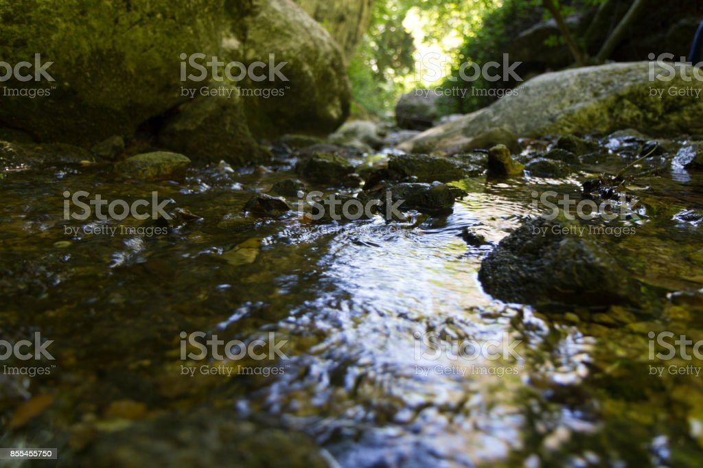 river on canyon stock photo