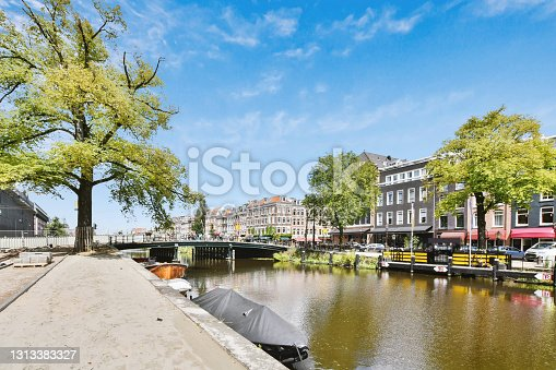 istock River on sunny day in town 1313383327