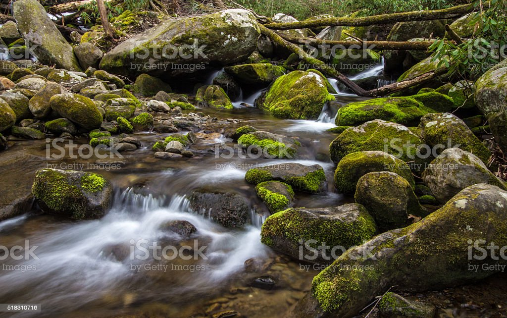 River On The Roaring Fork In The Smoky Mountains stock photo