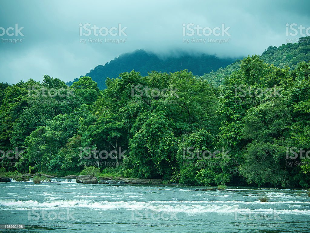 River on top of the Waterfalls stock photo