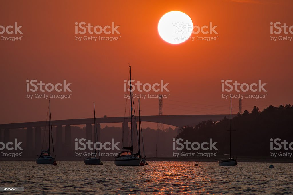 River Orwell sunset in England stock photo