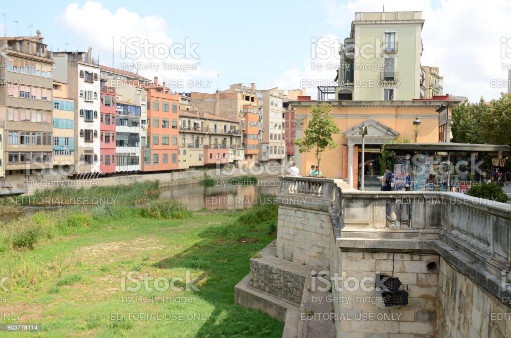 River path in Girona stock photo